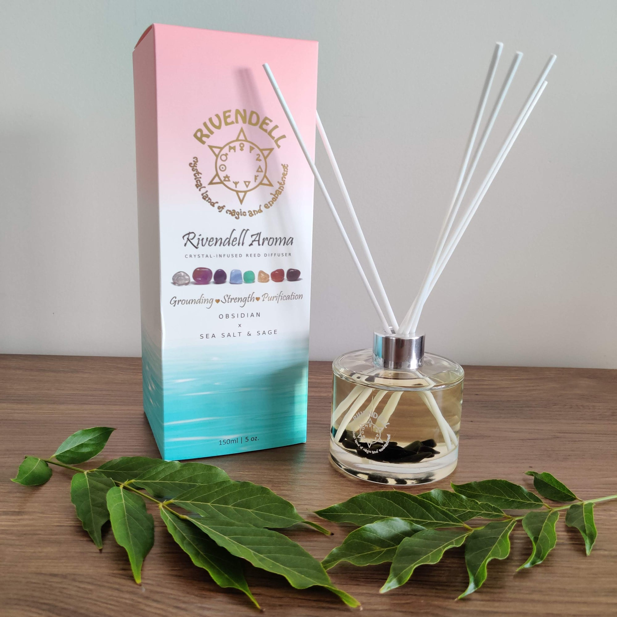 Rivendell Aroma: Obsidian x Sea Salt and Sage Crystal-Infused Reed Diffuser - Rivendell Shop