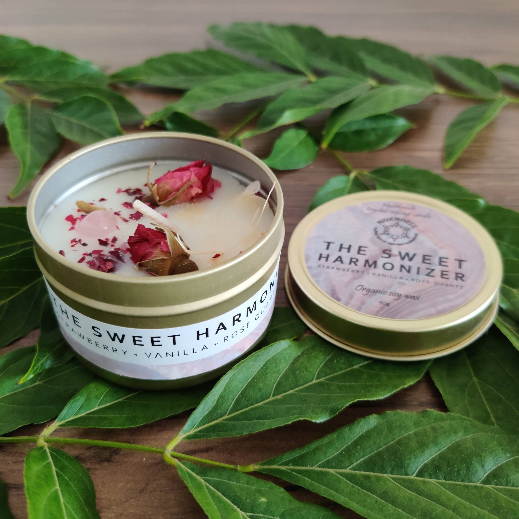 """The Sweet Harmonizer"" Strawberry + Vanilla + Rose Quartz Crystal-infused Tin Candle - Rivendell Shop NZ"