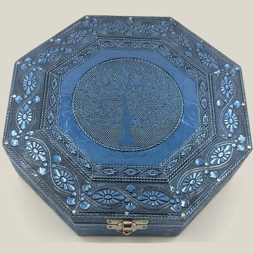 Blue Tree of Life Hexagonal Jewellery Box - Rivendell Shop NZ
