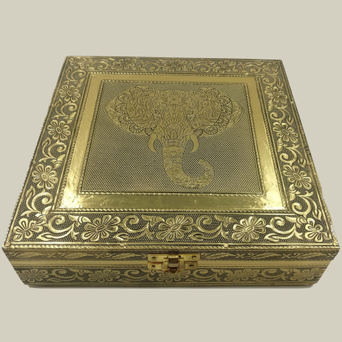 Gold Elephant Head Jewellery Box - Rivendell Shop NZ