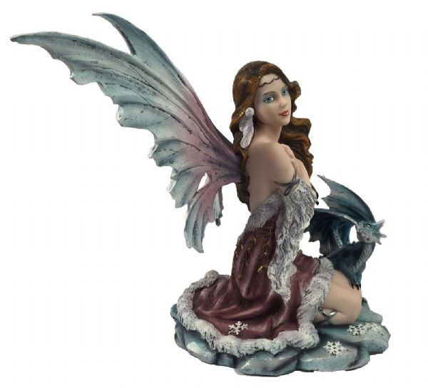 Sitting Snow Fairy with Dragon - Rivendell Shop NZ