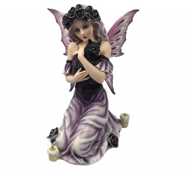 Fairy Holding Black Cat - Rivendell Shop