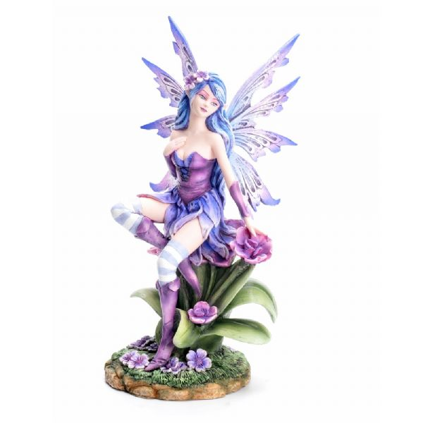 Purple Orchard Fairy Sitting on Flowers - Rivendell Shop NZ