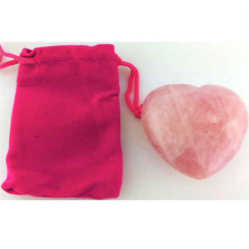 Rose Quartz Heart with Pouch - Rivendell Shop NZ
