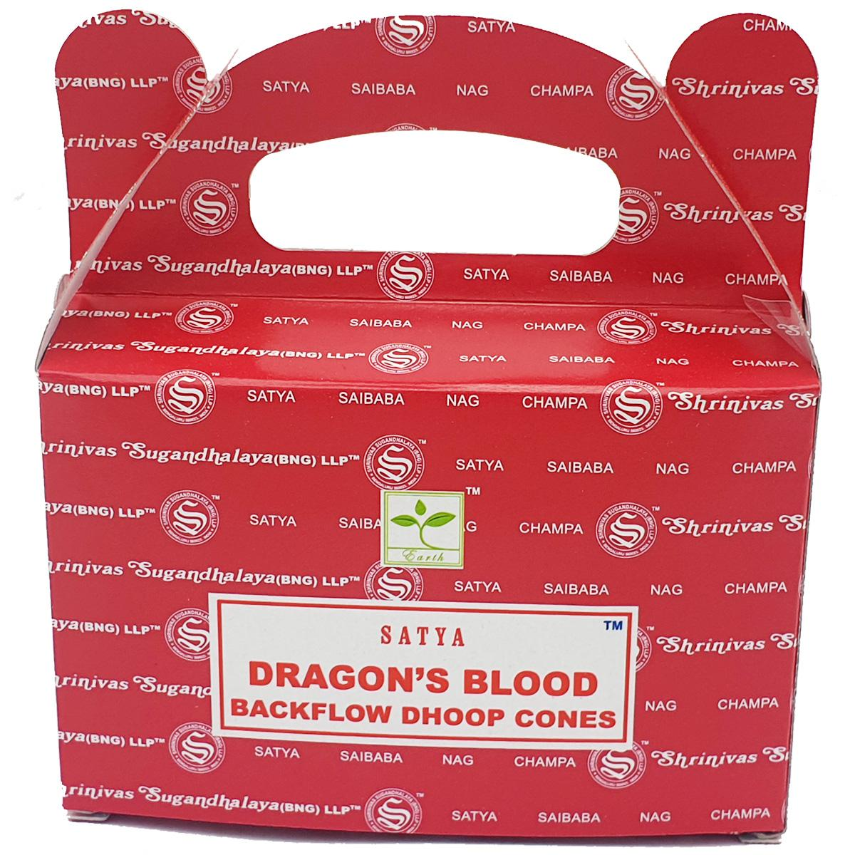 Satya Dragons Blood Backflow Incense Cones - Rivendell Shop NZ