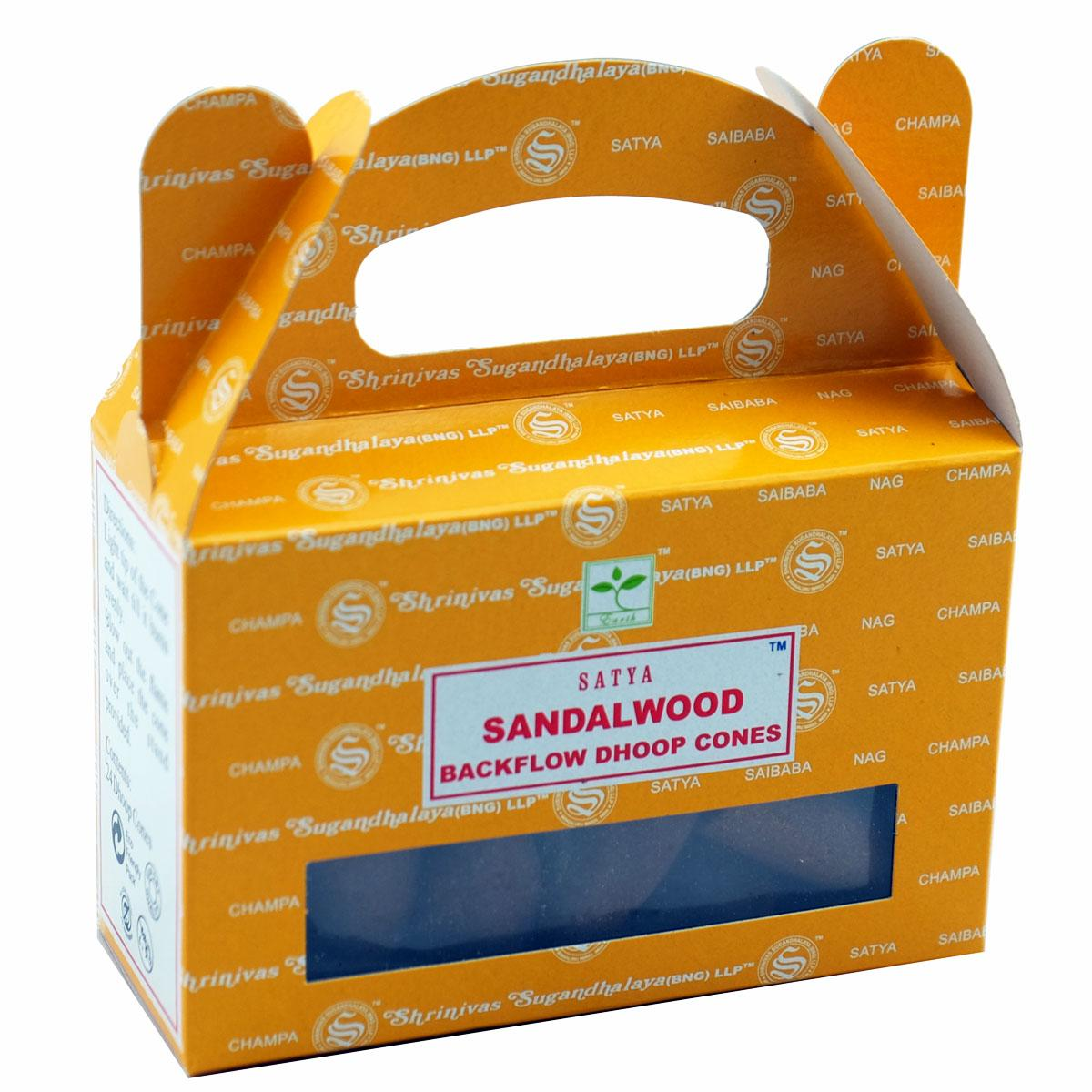 Satya Sandalwood Backflow Incense Cones - Rivendell Shop NZ