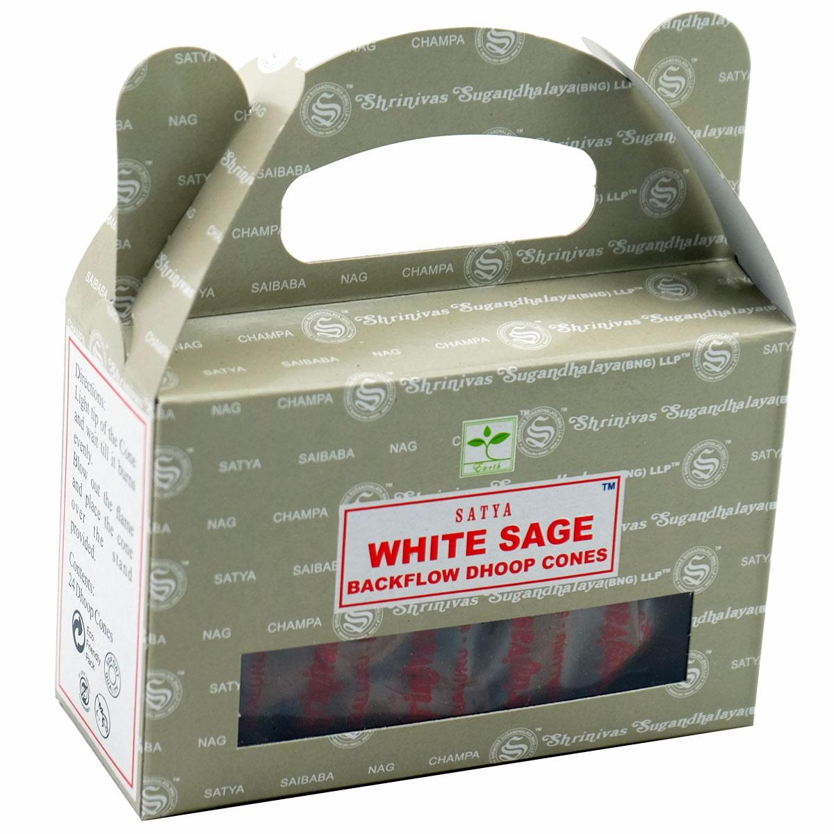 Satya White Sage Backflow Incense Cones - Rivendell Shop