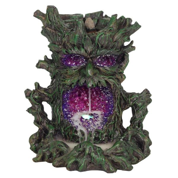 Green Treeman with Purple Crystal Cave Backflow Incense Cone Burner - Rivendell Shop NZ