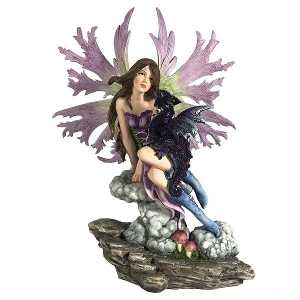 Purple Fairy Sitting with Baby Dragon - Rivendell Shop