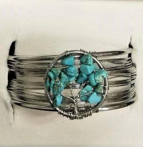 Turquoise Howlite Tree of Life Bracelet - Rivendell Shop NZ