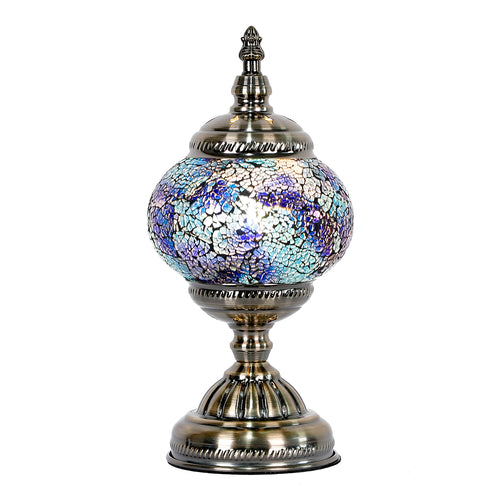 Violet Round Turkish Mosaic Lamp - Rivendell Shop NZ