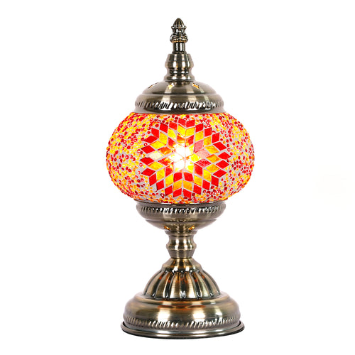 Red Sunburst Round Turkish Mosaic Lamp - Rivendell Shop NZ