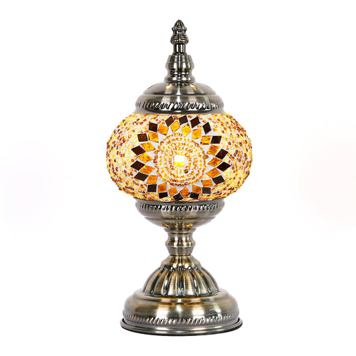 Gold Sunburst Round Turkish Mosaic Lamp - Rivendell Shop NZ