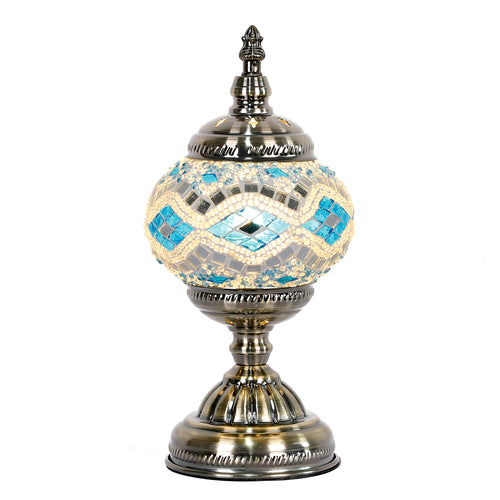 Sky Blue Round Turkish Mosaic Lamp - Rivendell Shop NZ