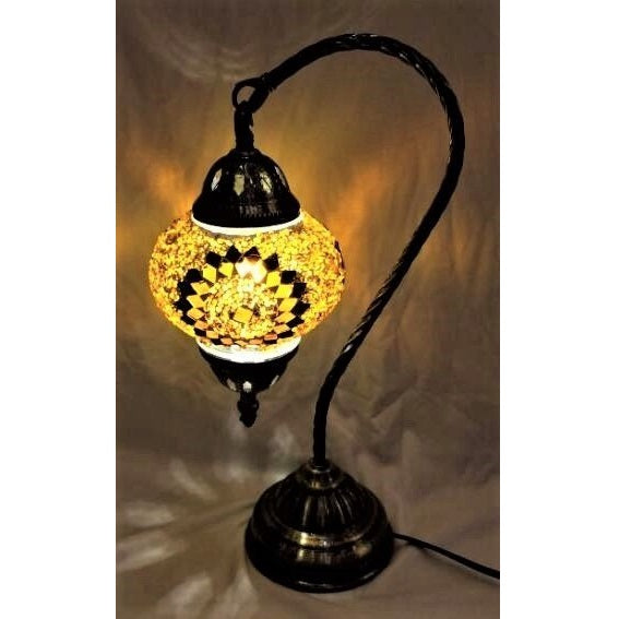 Black and Gold Swan Neck Turkish Mosaic Lamp - Rivendell Shop NZ