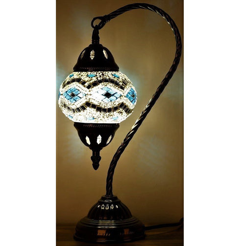 Sky Blue and Silver Swan Neck Turkish Mosaic Lamp - Rivendell Shop NZ