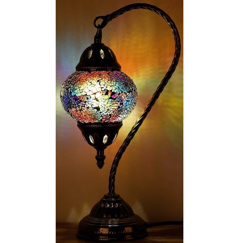Metallic Rainbow Swan Neck Turkish Mosaic Lamp - Rivendell Shop NZ