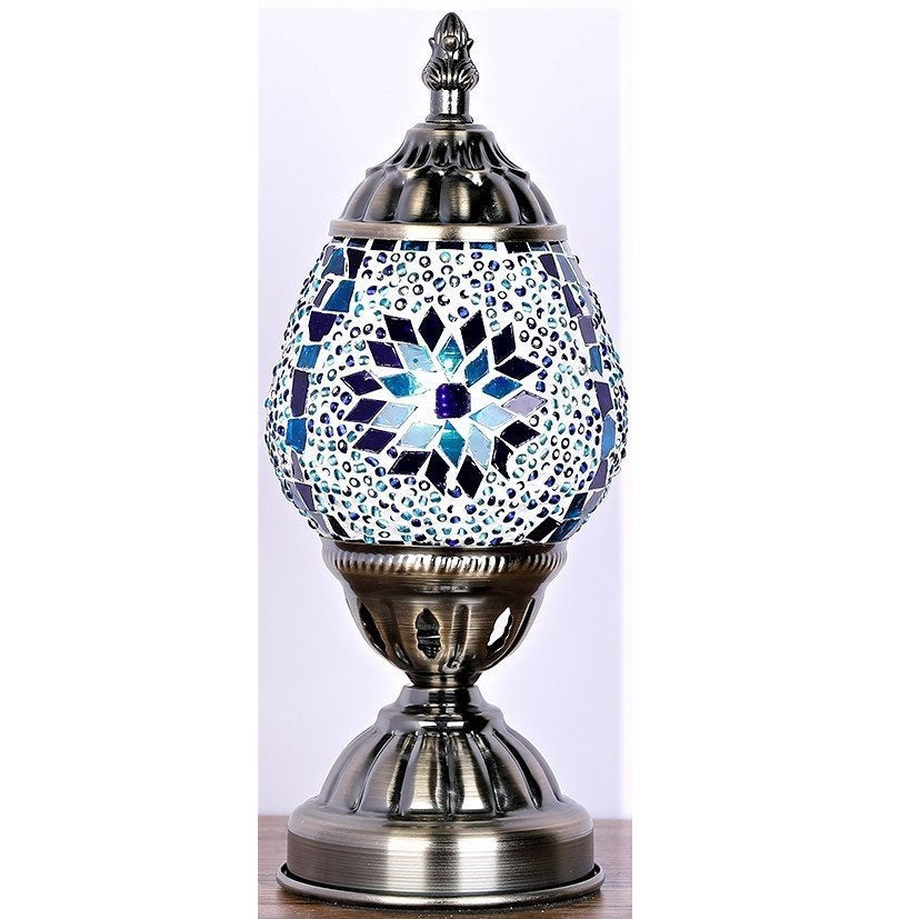 Blue Oval Turkish Mosaic Lamp - Rivendell Shop NZ