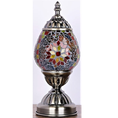Red Oval Turkish Mosaic Lamp - Rivendell Shop NZ