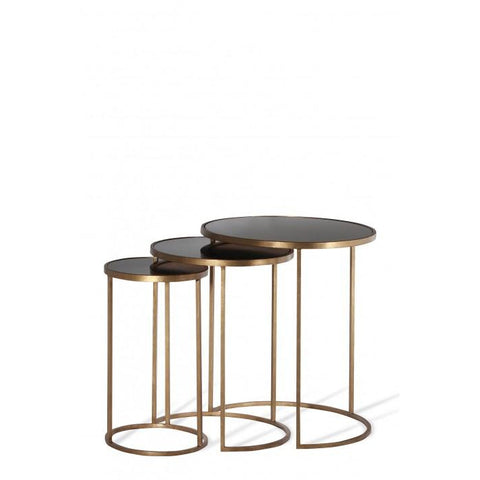 Salvatore Nest Of Tables - French Brass - Black Glass