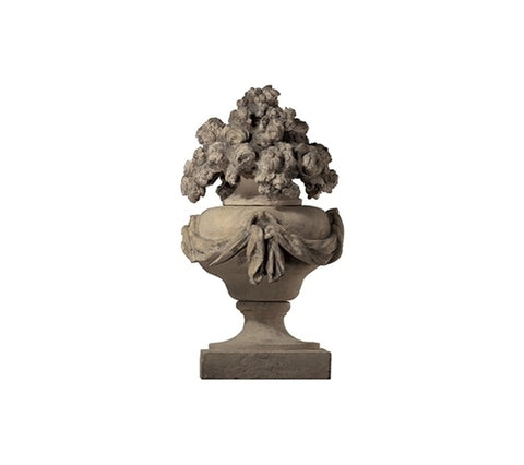 DRAPED FINIAL WITH FLOWERS