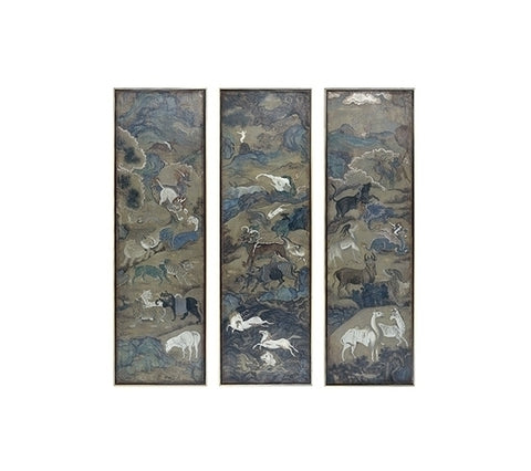 HAND PAINTED CHINESE ANIMAL PANELS, TRIPTYCH