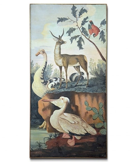 ANIMAL PAINTING WITH PELICAN ON CANVAS