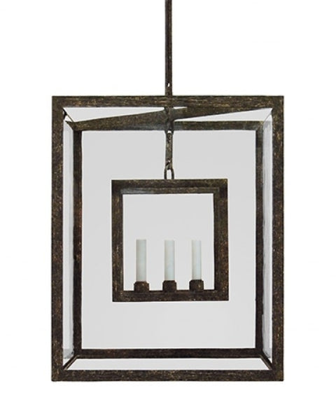 CUBIC LANTERN - LARGE - CLEAR GLASS