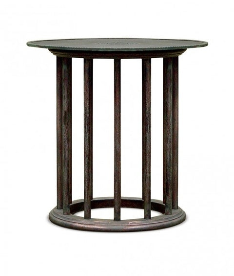 BRONZE & WOOD SIDE TABLE