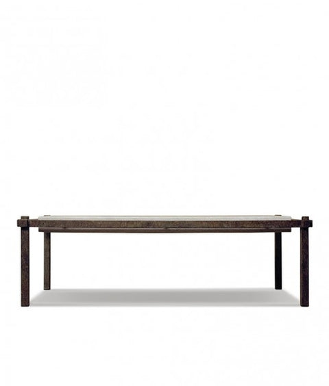 SUSPENDED IRON COFFEE TABLE WITH TRAVERTINE TOP