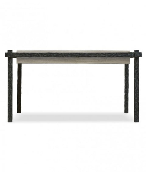 HAMMERED SUSPENDED IRON COFFEE TABLE WITH WOOD TOP