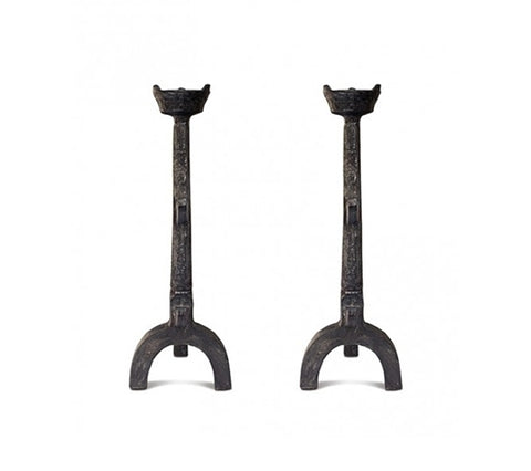 PAIR OF GOTHIC ANDIRONS