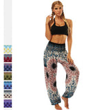 Tie-dye grey flower Printed Straight Loose Yoga Pants