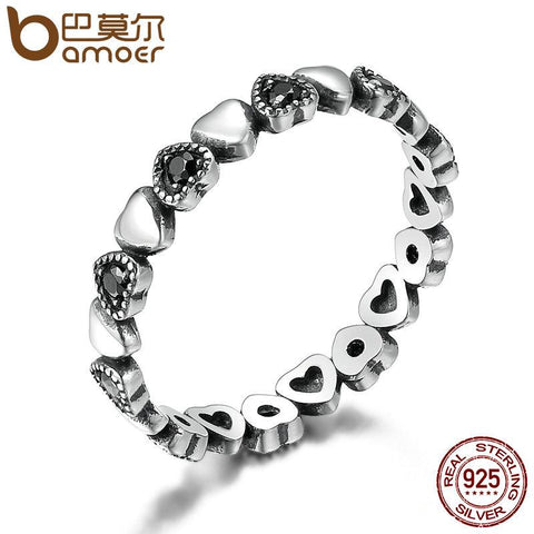BAMOER 925 Sterling Silver Stackable Ring Heart Black CZ Finger Rings  SCR140