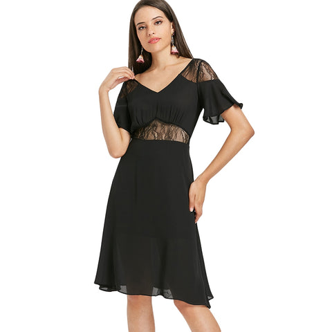 A Line Lace Trim Dress