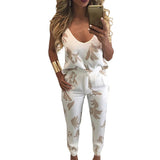 2 Piece Sexy Spaghetti Strap Pocket Long Rompers Print Playsuits Bodysuits Macacao Jumpsuit Overalls Women