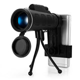 40X60 Monocular Telescope Zoom Scope with Compass Phone Clip Tripod for Mobile Phone Camera
