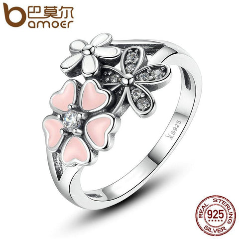 BAMOER 925 Sterling Silver Pink Flower Poetic Daisy Cherry Blossom Finger Ring SCR004