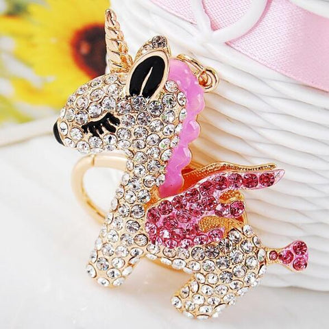 Full Crystal Rhinestone Unicorn Keychain Car keyrings Women's bags Decoration Accessories horse Pendants Jewelry