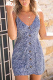 Women's Elegant And Sexy Dress Women's V-neck Printed Dot Sling A-line Dress Back With A Holiday Beach Dress