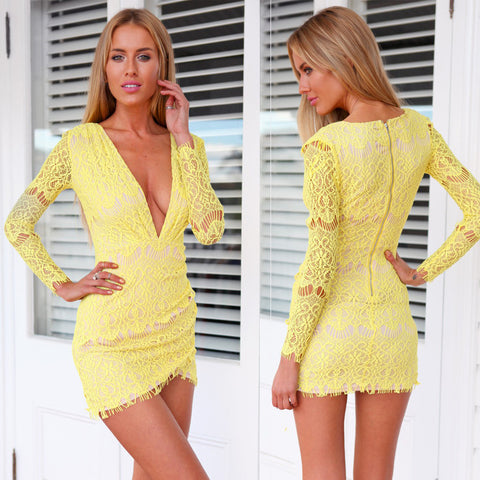 High Quanlity Long Sleeve Anomaly Dress With Lace Bodycon Sexy Dress