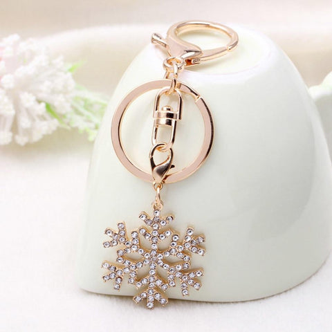 Snowflake Keychain Gold Color Keyring For Women Jewelry Gift Cute Snowflake Key Chain