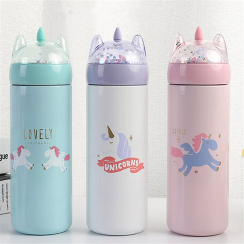 1pc 330ml Cartoon 3D Unicorn Thermos Cup  Hydro Flask Insulated Bottle Water Bottle Korean Style Thermos Bottle Unicorn Party-S