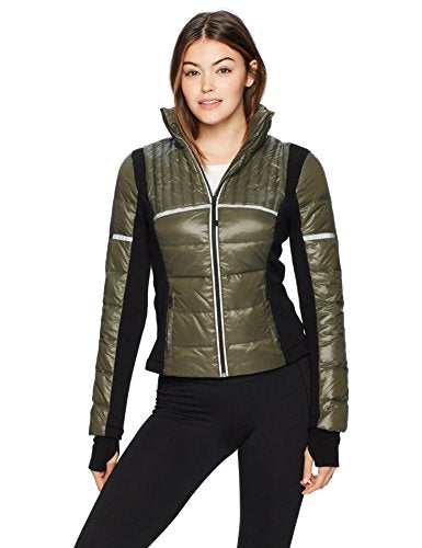 Blanc Noir Women's Reflective Inset Feather Weight Jacket, Olive, X-Small
