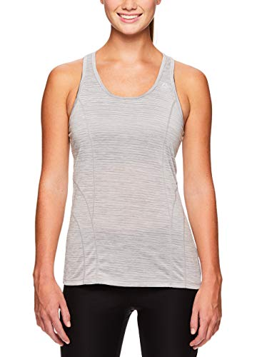 Reebok Women's Dynamic Fitted Performance Racerback Tank Top - Silver Sconce Heather, Small