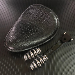 Selle Solo Crocodile Cuir Noir + kit ressorts