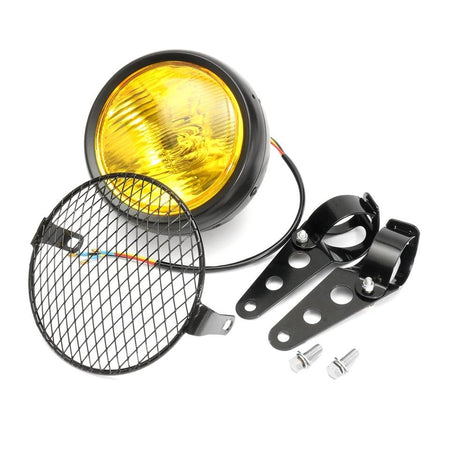 Phare Scrambler jaune + grille + supports