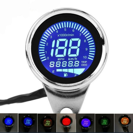 Compteur/compte tours/jauge essence Lcd digital Chrome