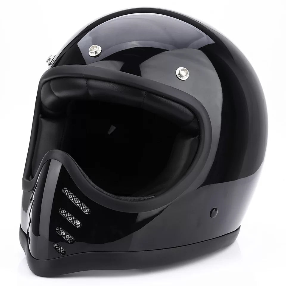Casque Retro'racer Vintage MX 70 s NOIR BRILLANT