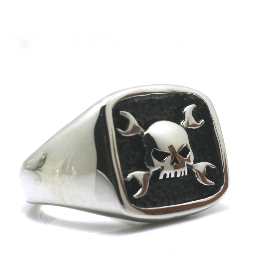 Bague Flat'Head Skull N Tools